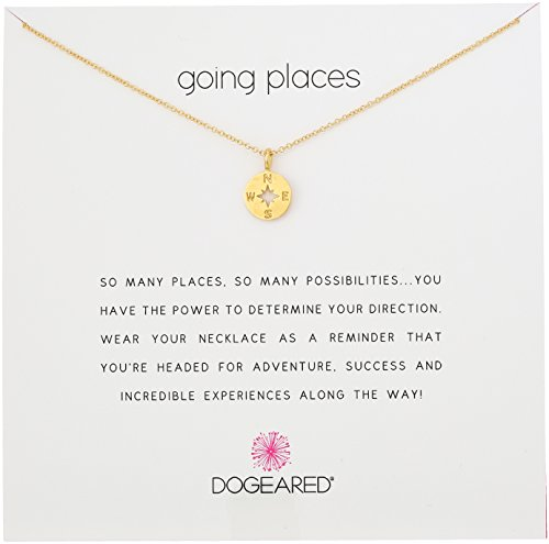 Dogeared Going Places Compass Disc Gold Dipped Chain Necklace