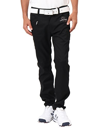 [ガッチャ ゴルフ] GOTCHA GOLF パンツ 薄手 サマー ヘリンボーン ロングパンツ 182GG1806 ブラック Lサイズ