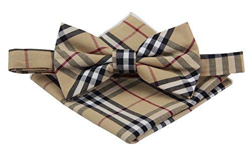 Plaid Bowties (Mens Cotton Madras Bowtie Set Various Colors (Beige))