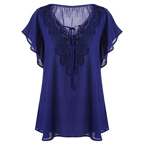 Lace Femme Femme Grande V T shirt Huyizhi Bleu Col Taille Gilet vintageTop Blouse Manches Courtes gwfqy1