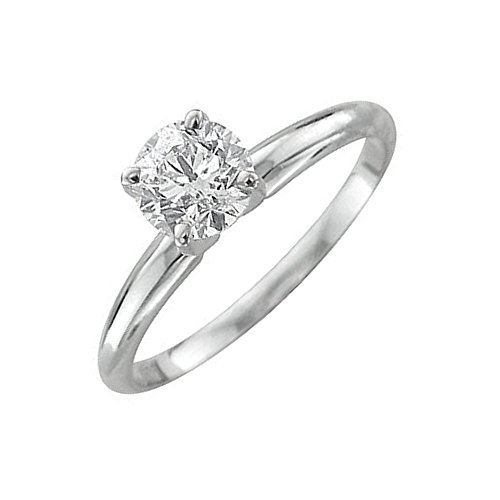 14k White Gold Solitaire Diamond Engagement Ring Band (1/4 Carat) (Diamond Ring Sale compare prices)