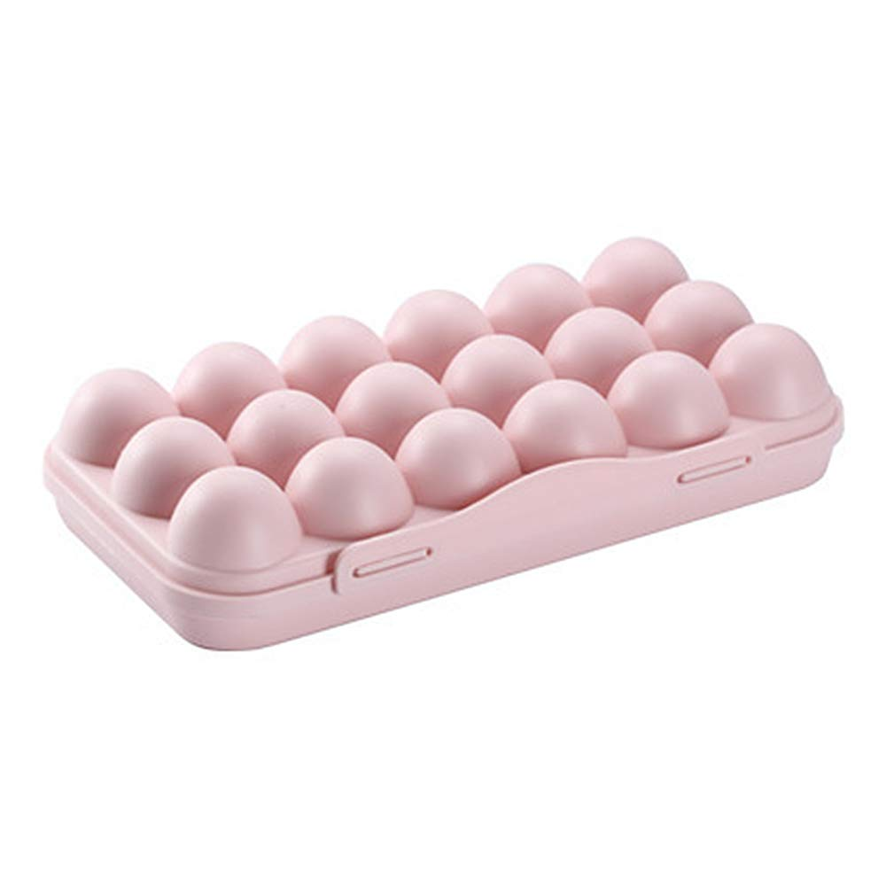 Portable Stackable Egg Organizers Holds 12 Eggs 12 Grids Plastic Egg Storage Container with Lid FGRYB Egg Trays for Refrigerator Pink