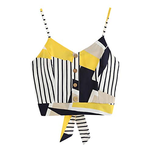 Coedfa Women's Bow Tie Back V Neck Button Splice Stripe Crop Cami Top Camisole Blouse Yellow by Coedfa (Image #1)