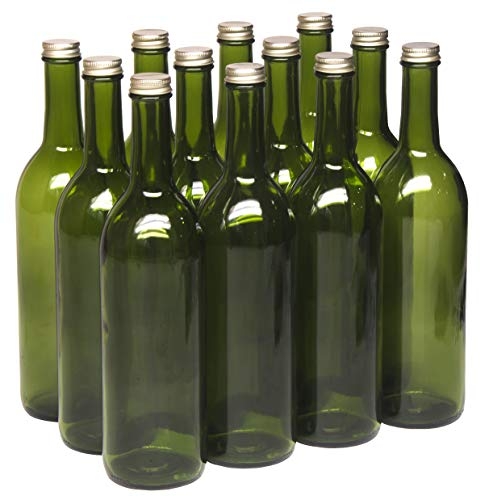 North Mountain Supply 750ml Champagne Green Glass Bordeaux Wine Bottle Flat-Bottomed Screw-Top Finish - with 28mm Gold Metal Lids - Case of 12