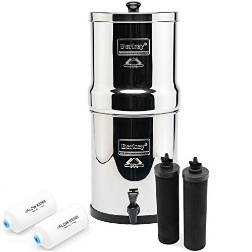 Big Berkey BK4X2 Countertop Water Filter Plan with 2 Black Berkey Elements and 2 Fluoride Filters