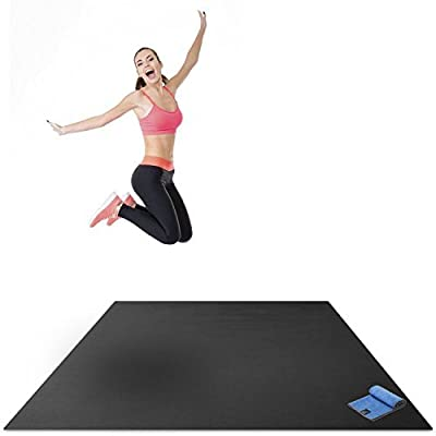 "Premium Large Exercise Mat - 6' x 4' x 1/4"" Ultra Durable, Non-Slip, Workout Mats for Home Gym Flooring - Plyo, HIT, Jump, Cardio Mat - Use With or Without Shoes (72"" Long x 48"" Wide x 6mm Thick)"