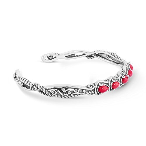 Carolyn Pollack Sliver Red Coral Five Gemstone Cuff Bracelet - Medium ()