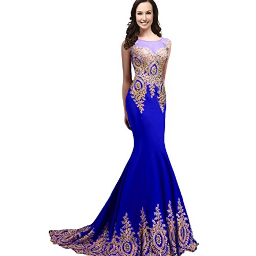 Sheer Bateau Long Mermaid Gold Lace Beaded Crystals Formal Prom Evening Dresses Royal Blue US 14