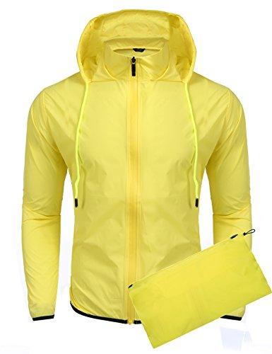 Coofandy Unisex Lightweight Hooded Running Cycling Rain Jacket Outdoor Raincoat, Yellow, Medium (Yellow Polyester Raincoat)
