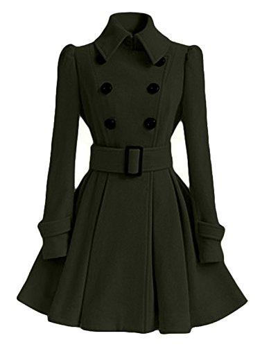 (AUSZOSLT Women Swing Double Breasted Pea Coat Belt Slim Fit Mid-Long Lapel Dress Coat Army Green M)