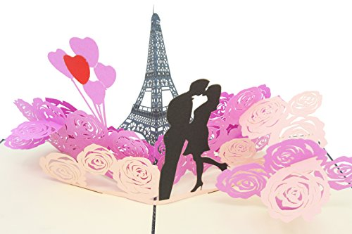 (PopLife Romantic Eiffel Tower 3D Pop Up Anniversary Card - Couple in Paris, Popup Card for Girlfriend, France Honeymoon Gift for Her, Birthday Card for Wife - Fold Flat for Mailing - City of LIghts)