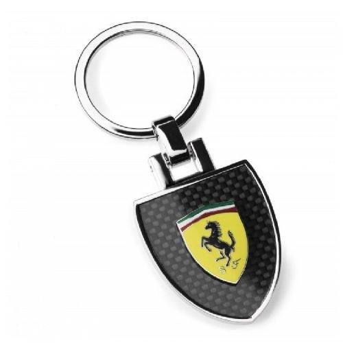 Ferrari Shield Carbon Fiber Look Keychain