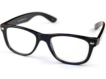 dc300c3791d39 Lunettes Monture style Wayfarer Geek Retro Vintage 80 s - Monture Noir - Verres  Neutre Transparent -