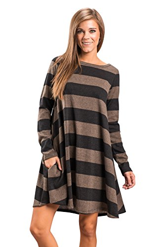 Lxmsja Women Nightgown Long Sleeve Striped Nightdress Tunic Tops for Leggings Knit Casual Swing Dress with Pockets Black