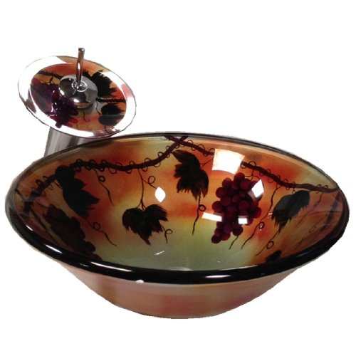 Fontaine Tuscany Summer Hand-painted Glass Vessel Sink in Silver and Gold W Waterfall Faucet Grape Fruit (Sink & Faucet)