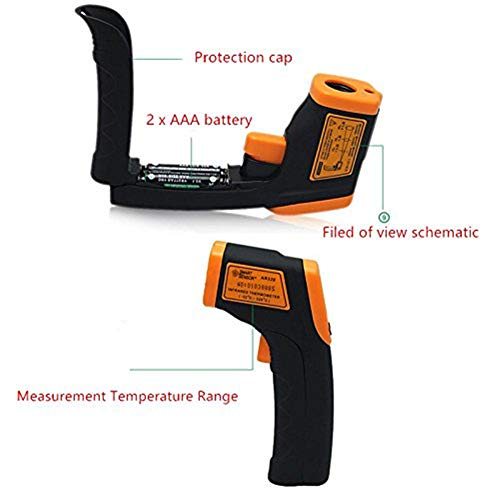 Infrared Thermometer IR Laser Thermometer Non-Contact Digital Temperature Gun -32°C~380°C (-26°F~608°F) Instant Read with Auto Shut-off Data Hold Function, LCD Backlight Display, Battery Included. by Junboys (Image #2)