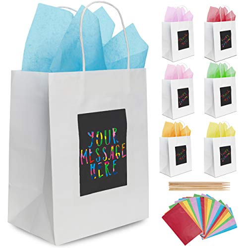 Unique Halloween Gift Bags (7 White Gift Bags with Scratch Paper Panel for Customisation, Tissue Paper Also Included! These Unique Bulk Bags with Handles are Great as Small Gift Bags, Party Favor Bags, and)