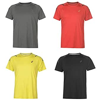 Official Brand Asics Icon Running T-Shirt Mens Black/Red Small