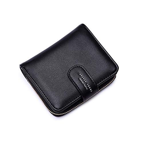 Wallets for Women, Women Small Wallet Lady Short Wallet Bifold Leather Multi-purpose Wallet with ID Window (A-Black) ()