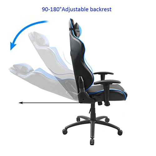 41%2BB6kGVyDL - Tongli-Video-Game-Chair-Adjustable-Height-Computer-Office-Recliner-Chair-with-Neck-Pillow-and-Lumbar-Support