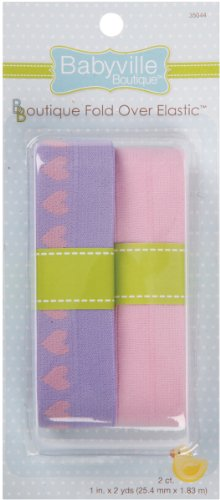 Babyville Boutique Fold Over Elastic, Lavender with Hearts and Solid Pink