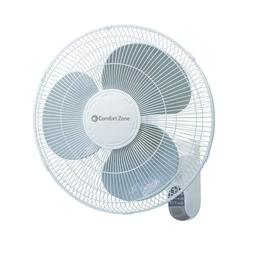 (Comfort Zone CZ16WR 16-inch Quiet 3-Speed Wall Mount Fan with Remote Control, Timer and Adjustable Tilt, White)