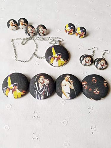 (Freddie Mercury Fabric Button Earrings, Pin or Necklace)