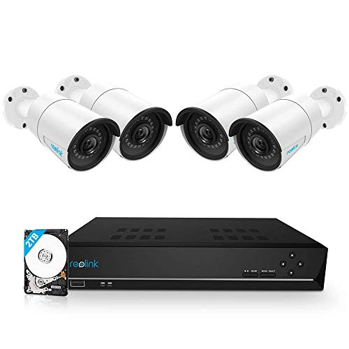 (Reolink 8CH 5MP PoE Home Security Camera System, 4pcs Wired 5MP Outdoor PoE IP Cameras, 5MP 8-Channel NVR Security System with 2TB HDD for 24/7 Recording, RLK8-410B4-5MP )