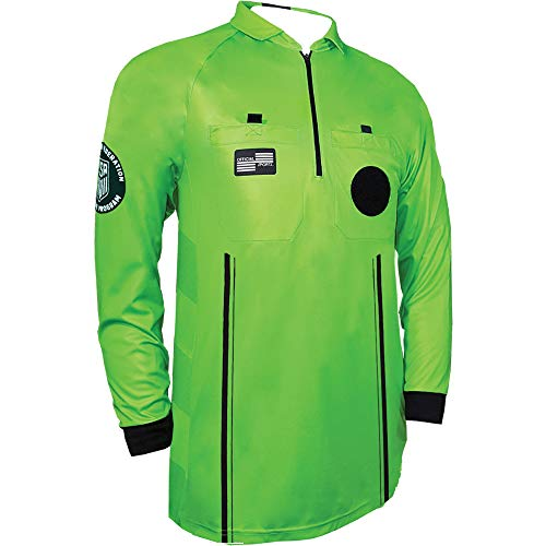 Official Sports New USSF Pro Men's Soccer Referee Green Long Sleeve Shirt Size ()