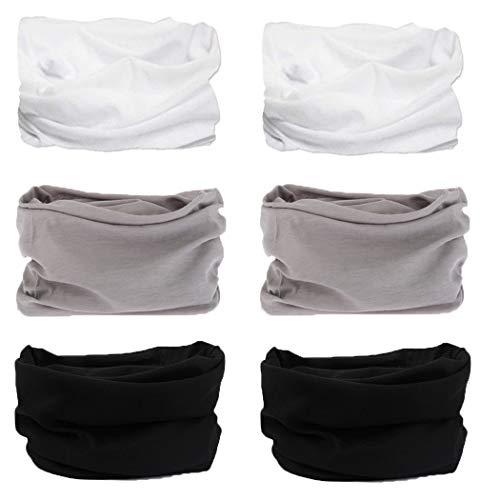 Neck Gaiter, Magic Headband Sport Headwear Elastic Face Mask Bandana Scarf UV Resistence Balaclava, Headwrap Helmet Liner for Men and Women - Cycling, Fishing, Running, Hiking, Camping (6PCS-Soild D)