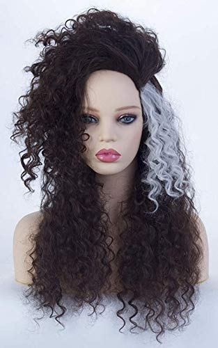 Womens Long Black Mix White Curly Wavy Wig Halloween Costume Synthetic with Fluffy Wig