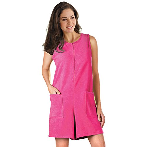 Terry Zip Pocket Pant (Women's Sleeveless Terry Zip Romper with Front Pockets, Fuchsia, Large)