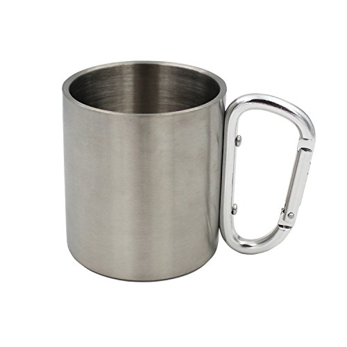 YLMTOP Stainless Steel Carabiner Mugs Portable Travel Water Tea Coffee Cup for Outdoor Sports Camping Hiking Climbing YSP022