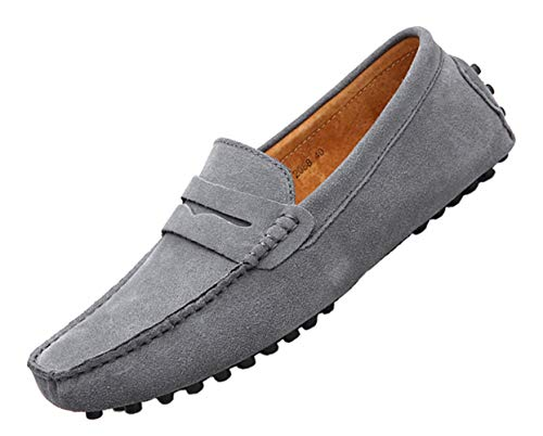 TSIODFO Suede Loafers for Men Slip on Dress Shoes Breathable Leather Flat Fashion Grey Driving Shoes Penny Driver Walking Sneakers Moccasin Business Casual Shoes Big Plus Size 13 (2088-grey-48) Calfskin Leather Mens Sneakers