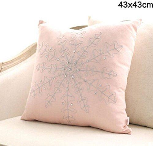 (Inteeon home series 4545cm Europe Style Modern Light Pink Pillow Cushion Flower Snow Shape)