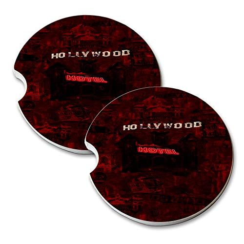New Vibe Hell Hollywood Hotel - Round Absorbent Natural Stone Car Coaster Set (Set of 2) Auto Drink Coasters