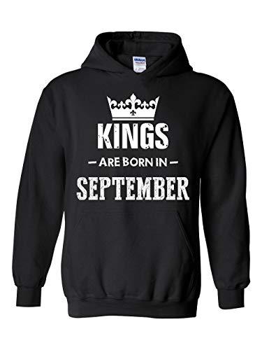 Birthday Gift Kings are Born in September Unisex Hoodie (XLB) Black ()