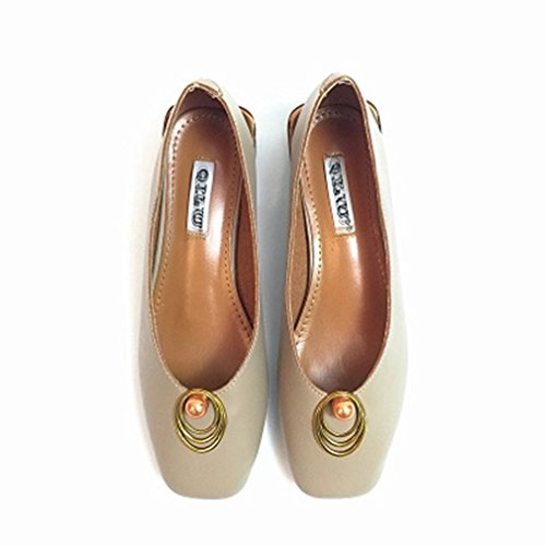 GIY Retro Loafers For Women, Slip-On Buckle Classic Pumps Loafers Square Toe Block Heel Dress Oxford Shoes Beige