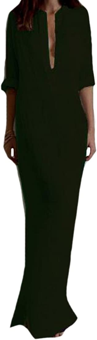Comfy Womens Vogue Plus-size Basic Style Long-Sleeve Trapeze Dress