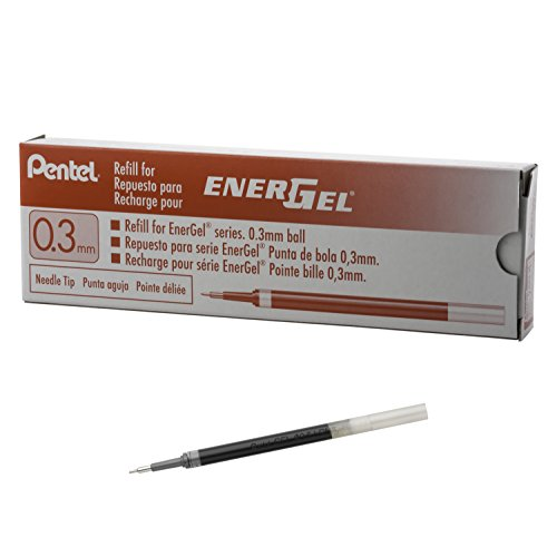 Pentel Refill Ink for EnerGel RTX Retractable Liquid Gel Pen Extra Fine Line Needle Tip, 12 Pack, 0.3mm, Red (LRN3-B) (Retractable Red Pentel Pen)