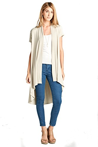 ReneeC. Women's Extra Soft Natural Bamboo Short Sleeve Cardigan - Made in USA (2X-Large, Taupe)