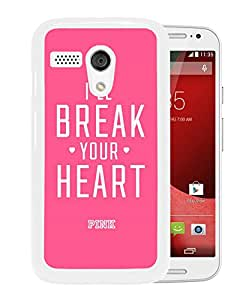 Unique Designed Victoria's Secret Love Pink Cover Case For Motorola Moto G in White Phone Case 84