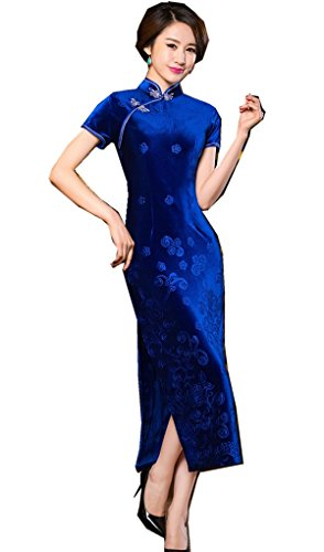Shanghai Story Floral Embrodiery Qipao Dress Velvet Long Cheongsam M Blue by Shanghai Story