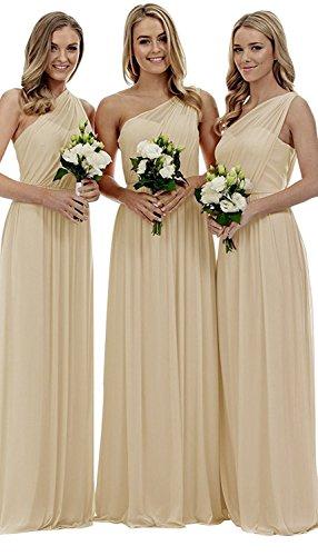 Elegant Eine Abendkleider Damen Chiffon Hochzeit Beyonddress Schulter kleider Champagne Partykleider Brautjungfern Lang HnxIBYY67