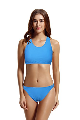 zeraca Women's High Neck Racerback Bikini Bathing Suit (L14, Hawaiian Ocean)