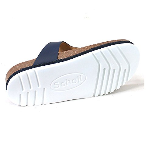 Scholl Idylla Navy Blue Tan Leather Blue