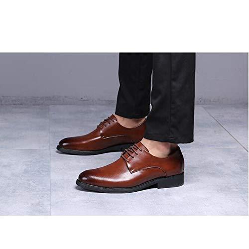 Casual da Uomo Eleganti da Stile Punta in Uomo Derby Stringate A Punta Scarpe Brown da Scarpe con Pelle Uomo Basse qn76xgB