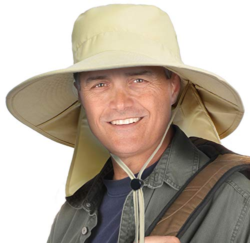 Tirrinia Outdoor Sun Protection Fishing Hat with Neck Flap Cover Wide Brim Cap for Men Women, Backpacking, Cycling, Hiking, Garden, Hunting, Camping, UPF 50 Tan ()