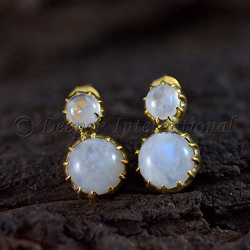 Natural Rainbow Moonstone Earrings, Yellow Gold Vermeil Earring Round Shape Gemstone 925 Sterling Silver Womans Earrings Healing Gemstone Earrings Birthday Gift For Girls Earrings