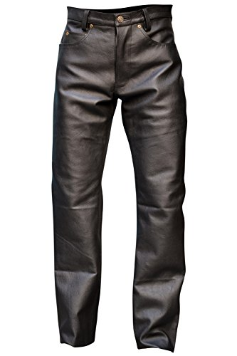- Mens Genuine Leather Pant 5 Pockets Jeans Style Button Fly Model (36 Inch Waist)